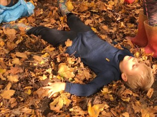 Almost falling asleep while making leaf angels!