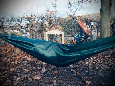 On the first day of Christmas, my #ForestSchool gave to me...a cosy hammock strung between the trees!