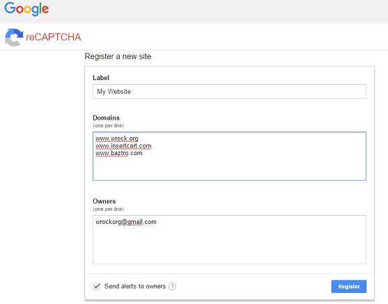 Regidter for google no recaptcha