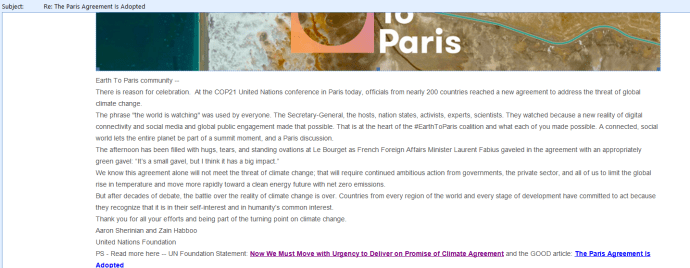 Earth to Paris Newsletter COP21 Agreement