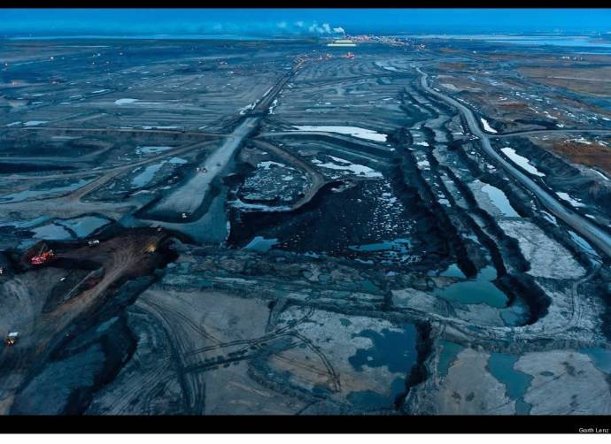 tar sands at night