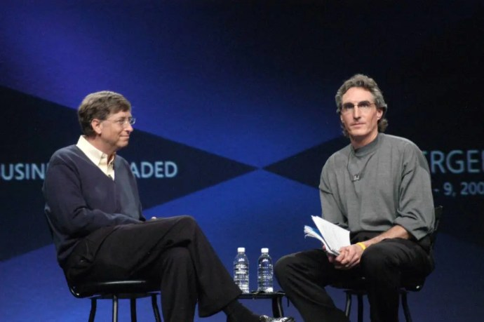 Bill Gates, Microsoft Chairman and Chief Software Architect, delivers the Keynote speech and talks with Doug Burgum - Senior Vice President responsible for the Microsoft Business Solutions business group at Microsoft Convergence 2005 at the San Diego Convention Center. Gates spoke candidly about his personal visions and future endeavors to over 2000 attendees. (Photo by R. Born/WireImage)