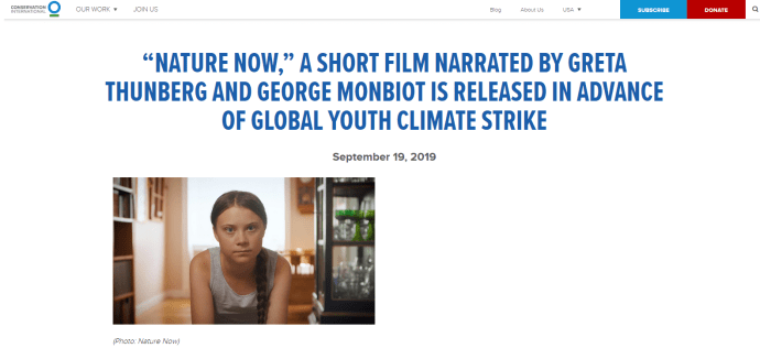 September 19, 2019: Conservation International Website