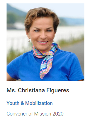 Christiana Figueres heads the UN taskforce for the Youth & Mobilization committee. Source: United Nations website