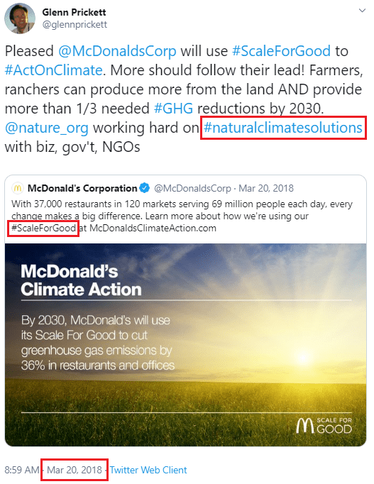 "March 20, 2018: McDonald's corporation ""working hard on #naturalclimatesolutions"""