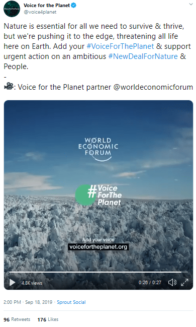 September 18, 2019, World Economic Forum, partner to the United Nations and Voice For The Planet, promoting the #NewDealForNature (created by WEF and WWF)