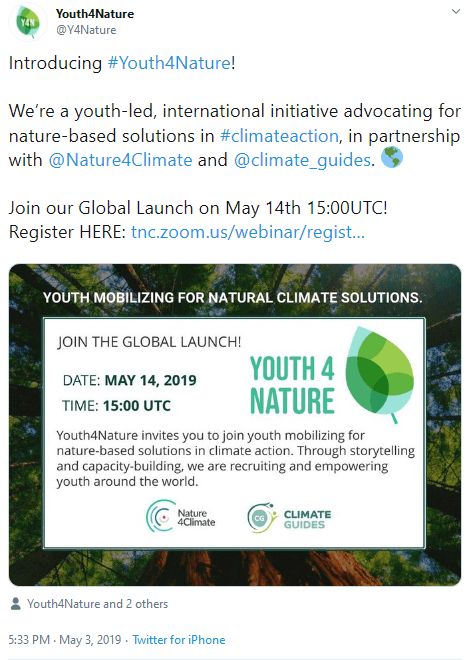 May 3, 2019: Recruiting the youth. Partners: The Nature Conservancy & Nature4Climate
