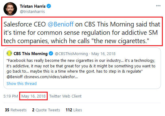 "Harris quoting Benioff, May 16, 2018: ""Time for common sense regulation""."