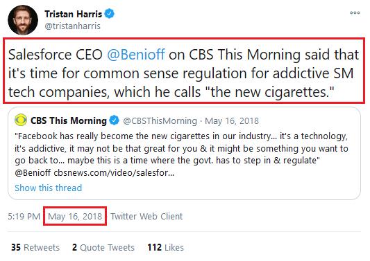 "Harris quoting Benioff, May 16, 2018: ""Time for common sense regulation""."