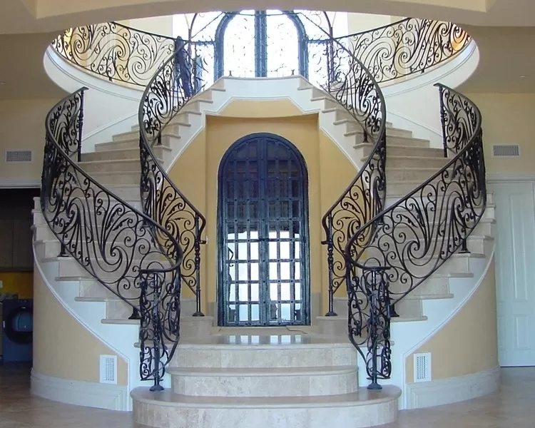 Curved Cast Iron Stair Railing Ornamental Wrought Iron Component Black   Cast Iron Staircase Railing   Exterior   Spanish Style   Walnut Iron   Balcony   Ornamental