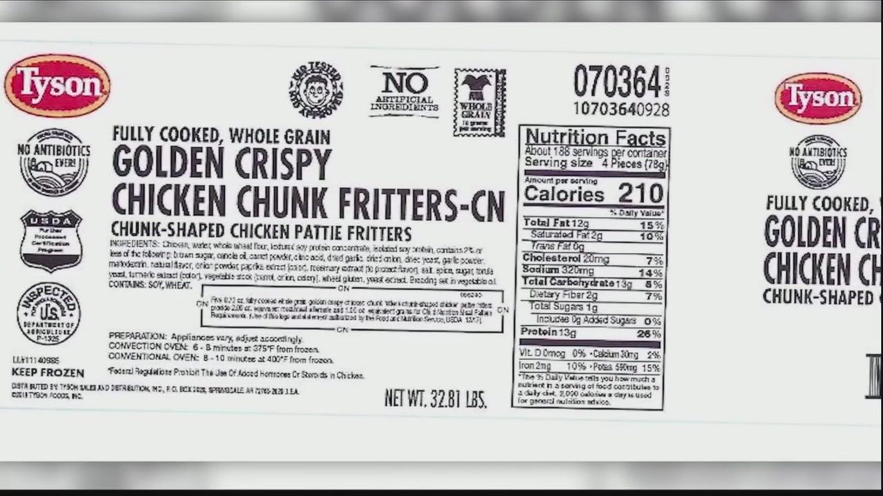Tyson Foods recalls nearly 200,000 pounds of chicken fritters