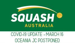 SQUASH AUSTRALIA   COVID-19 Virus Update   OCEANIA JUNIOR CHAMPIONSHIPS POSTPONED