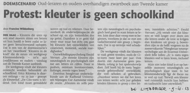 2013-04-10 kleuteronderwijs zwartboek aanbieding de limburger