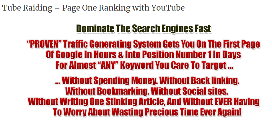 Tube Raiding – Page One Ranking with YouTube Download