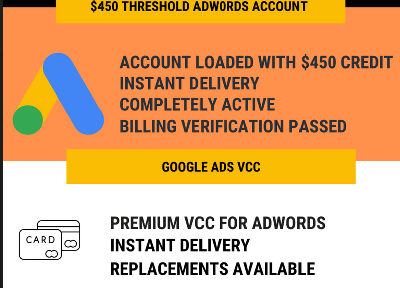 Adwords Fully Verified $450 Credits Account and VCC - All in One Package Download