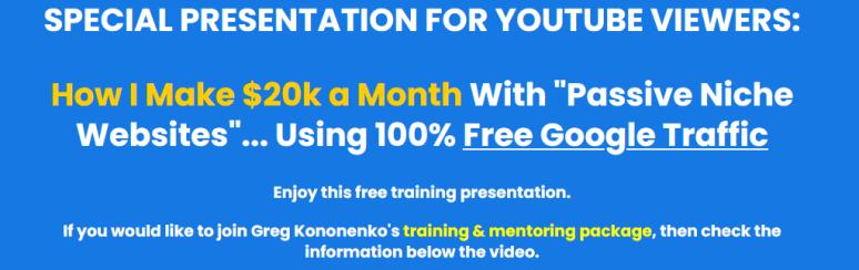 Greg Kononenko's - Caffeinated Niche Profits ( How I Make $20k a Month With Passive Niche Websites..Using 100% Free Google Traffic) Download