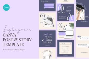 Minimalist Elegant FAQ Canva - Instagram Post and Stories Template Free Download