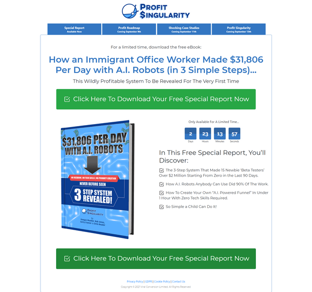 Profit Singularity - Rob Jones, Gerry Cramer & Keegan - 3 Simple Step System Makes $31,806 per day Download