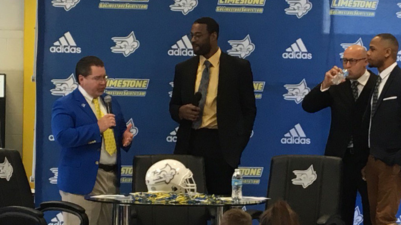 Calvin Johnson on hand for Limestone signing day show_312079