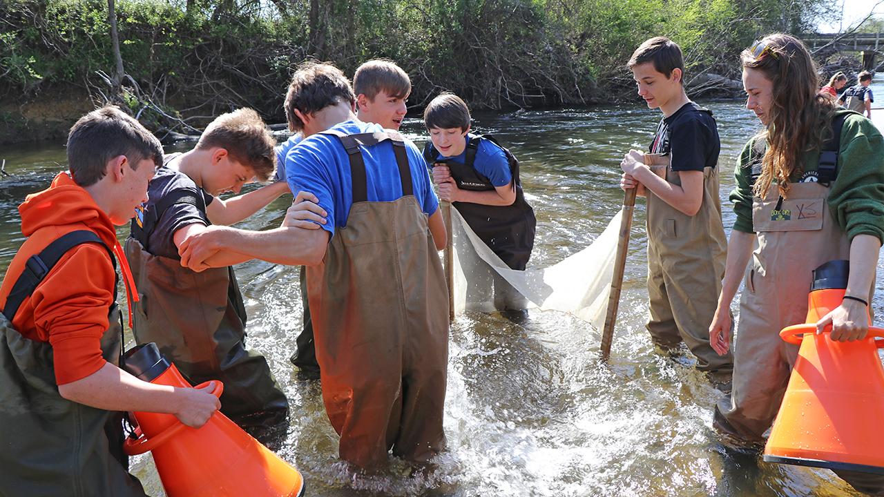 Kids in the creek Henderson County 1