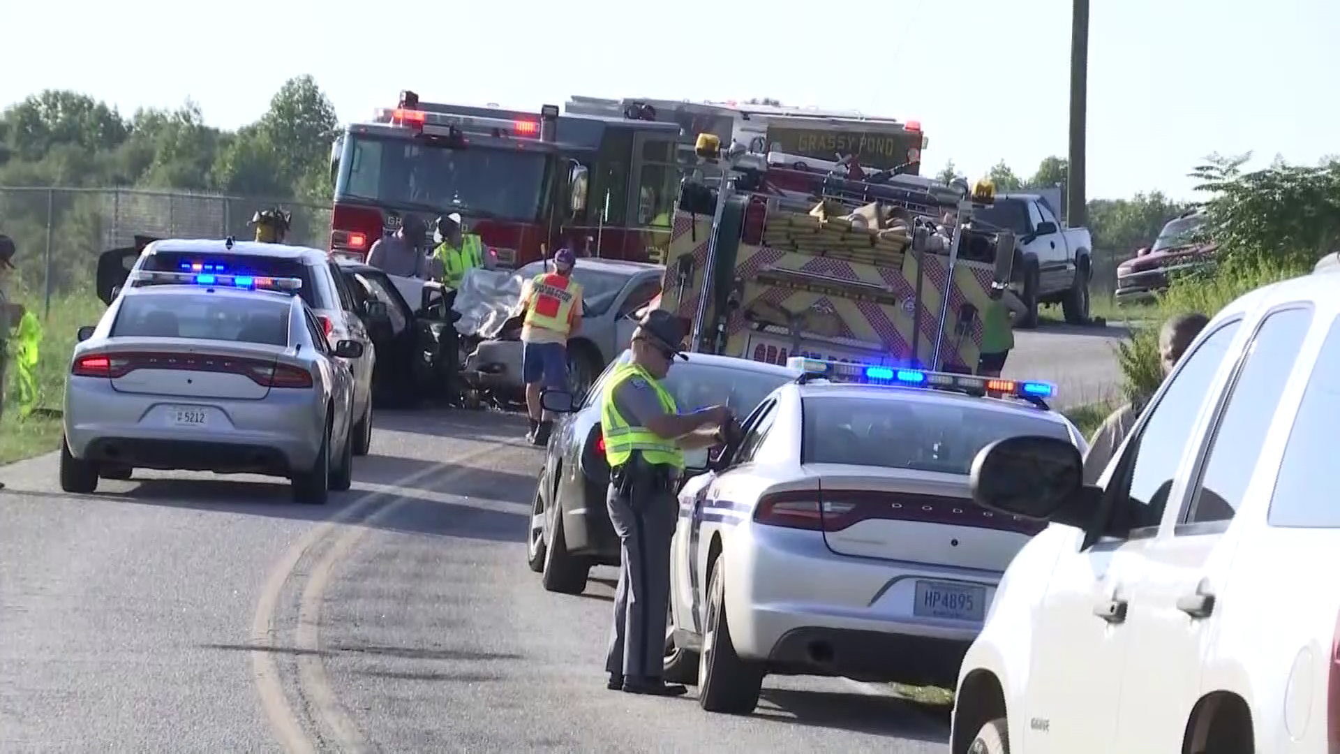 Pleasant School Road crash scene in Cherokee County