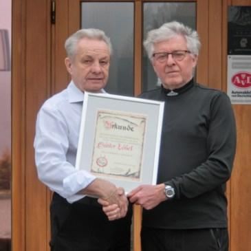 Urkunde für Günter Löbel für ganzjährige Unterstützung