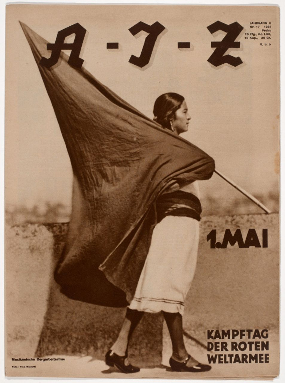 Tina Modotti (Italian, 1896-1942). Woman with Flag (1 de Mayo, Muher con Bandera), A-I-Z, Iss. 17 (1931). Rotogravure, approx. 15 1/8 x 11 1/8 in. (38.2 x 28 cm). The Museum of Fine Arts Houston, Museum purchase funded by Max and Isabel Smith Herzstein