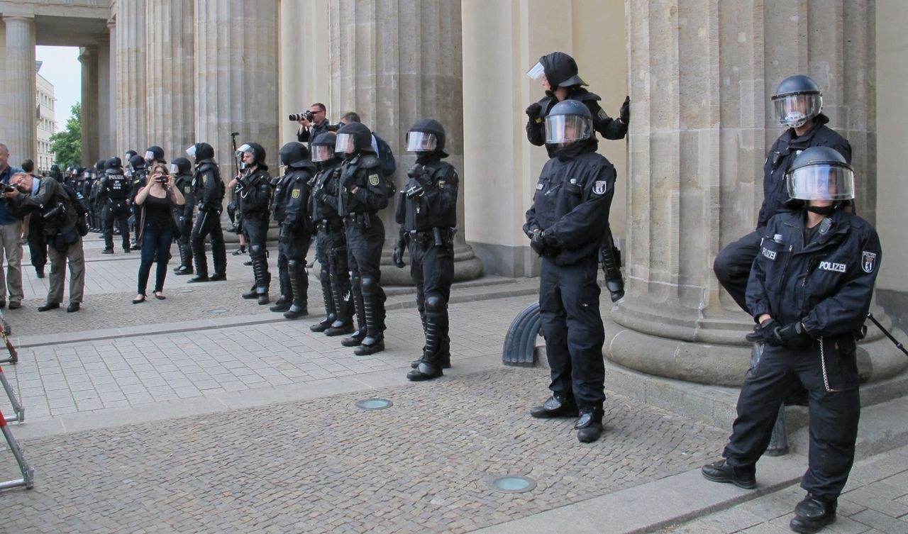 Heavily armed police seal off the Brandenburg Gate in Berlin, Germany