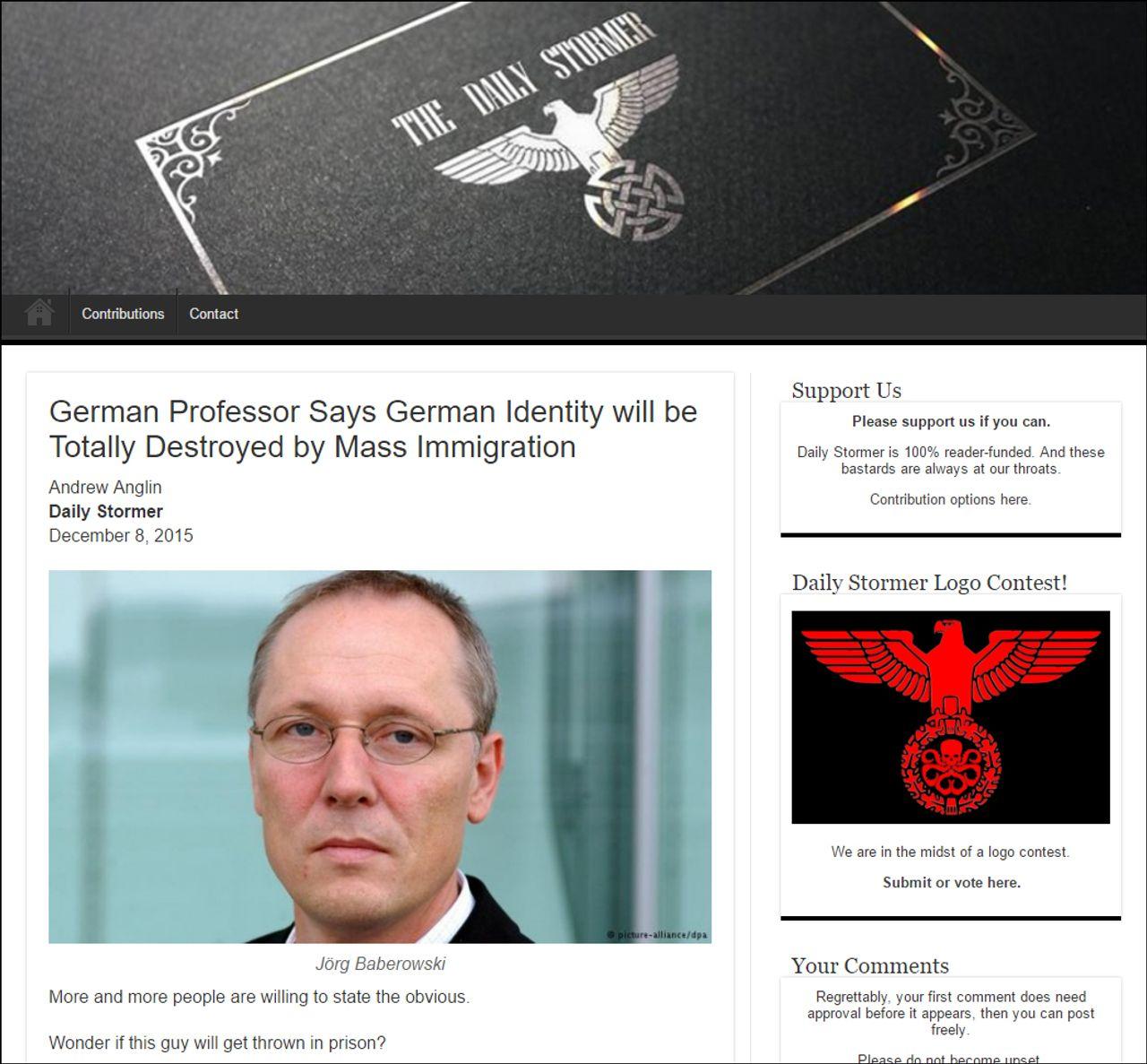 United States Daily Stormer nazis promote Baberowski