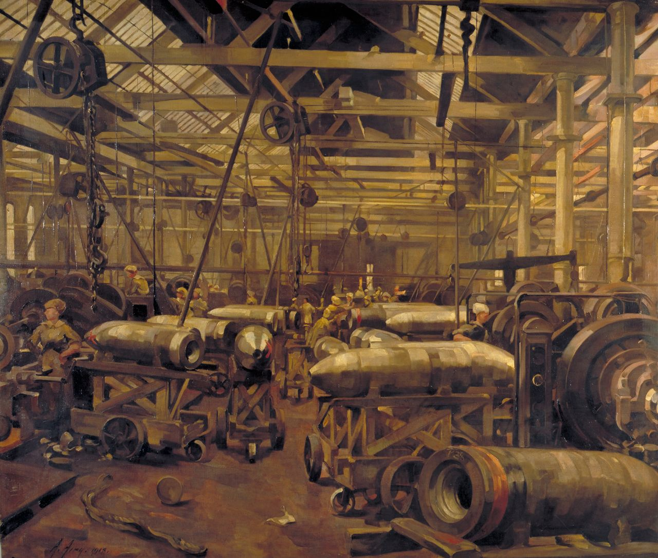 Anna Airy, Shop for Machining 15-inch Shells: Singer Manufacturing Company, Clydebank, Glasgow, 1918