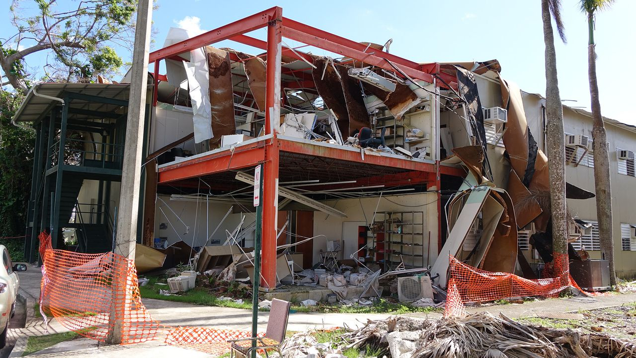 A destroyed building on University of Puerto Rico Rio Piedras campus