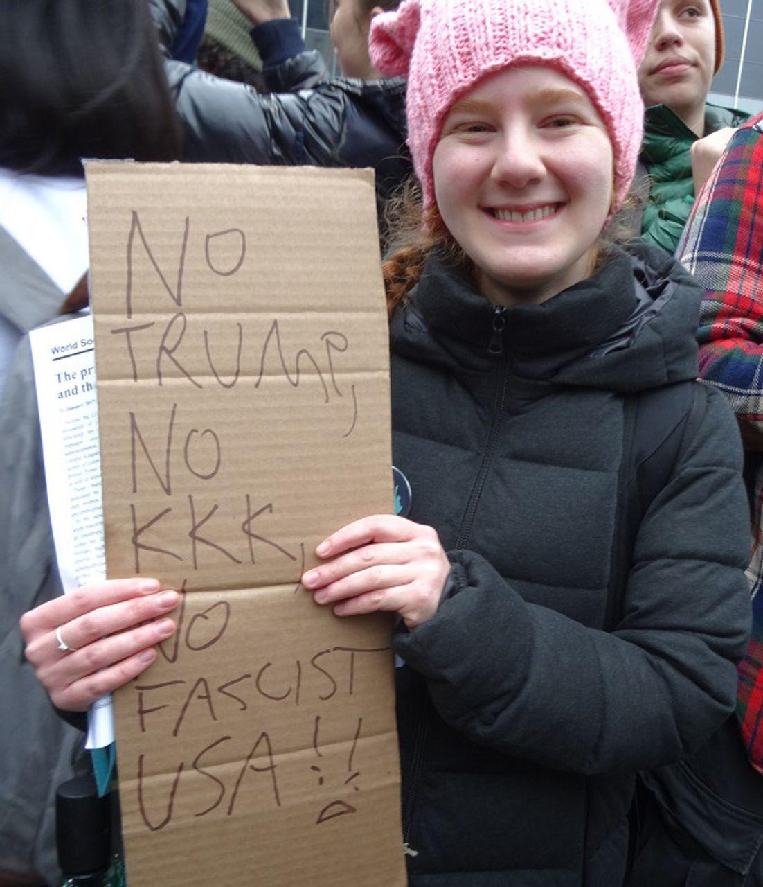 New York anti-Trump demonstrator Natahlie