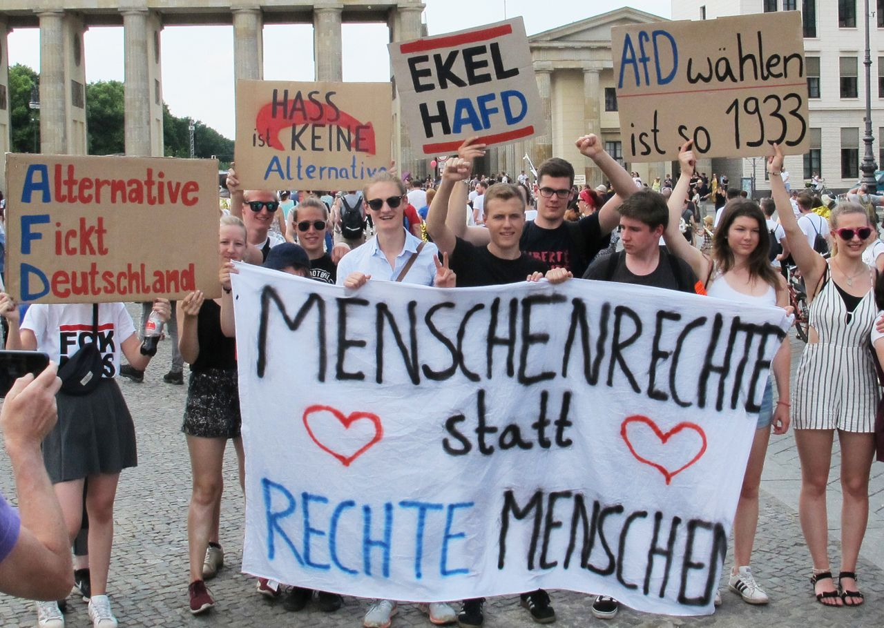 Participants in the anti-AfD demonstration in Berlin