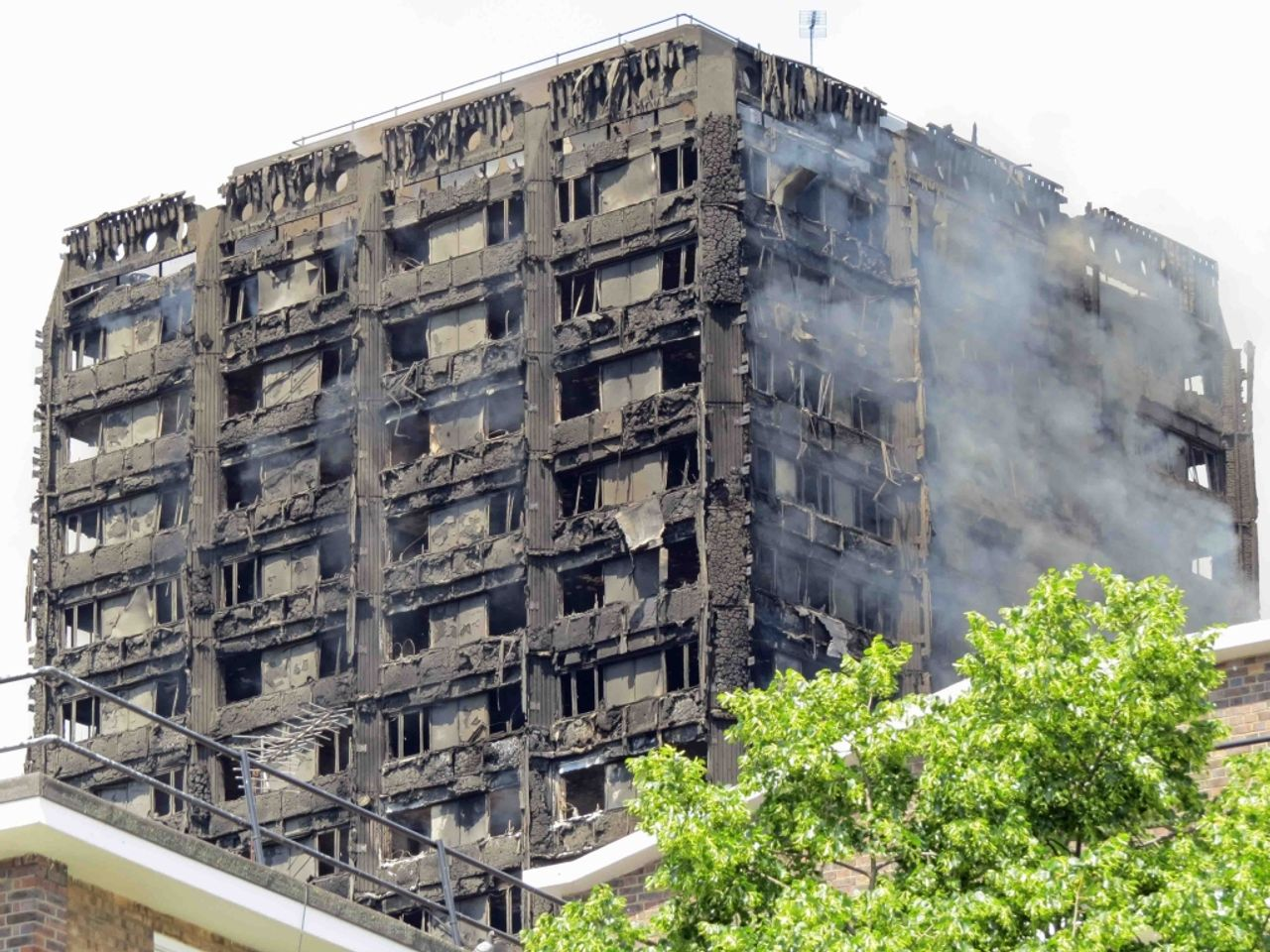 The burnt out shell of Grenfell Tower in London