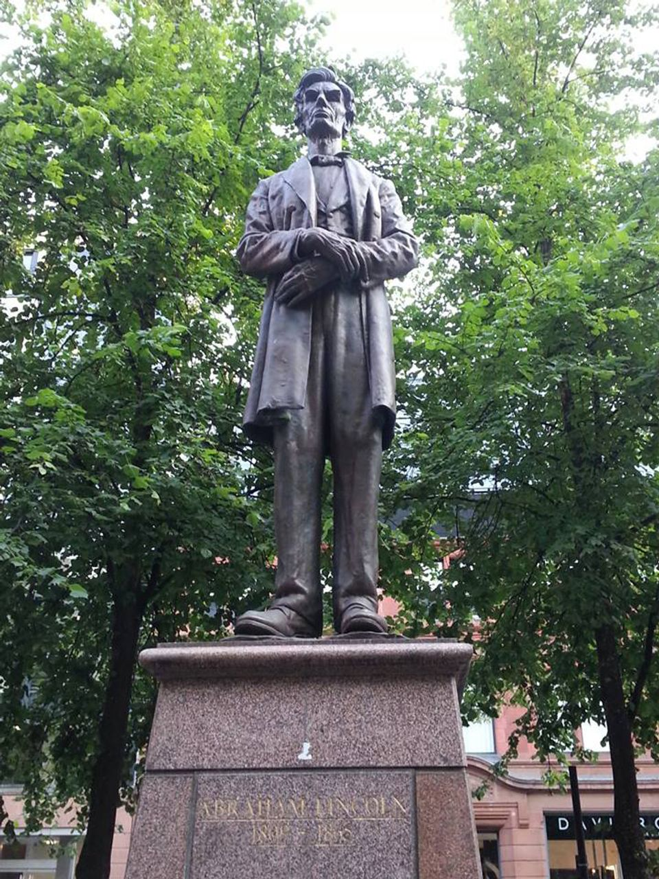 The statue of Abraham Lincoln in Lincoln Square, Manchester