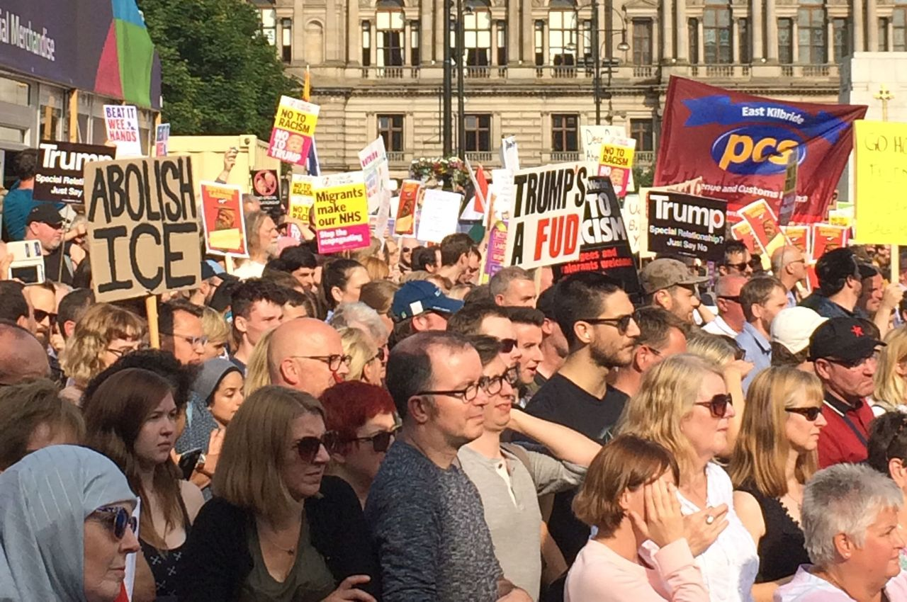 Some of the protesters in Glasgow