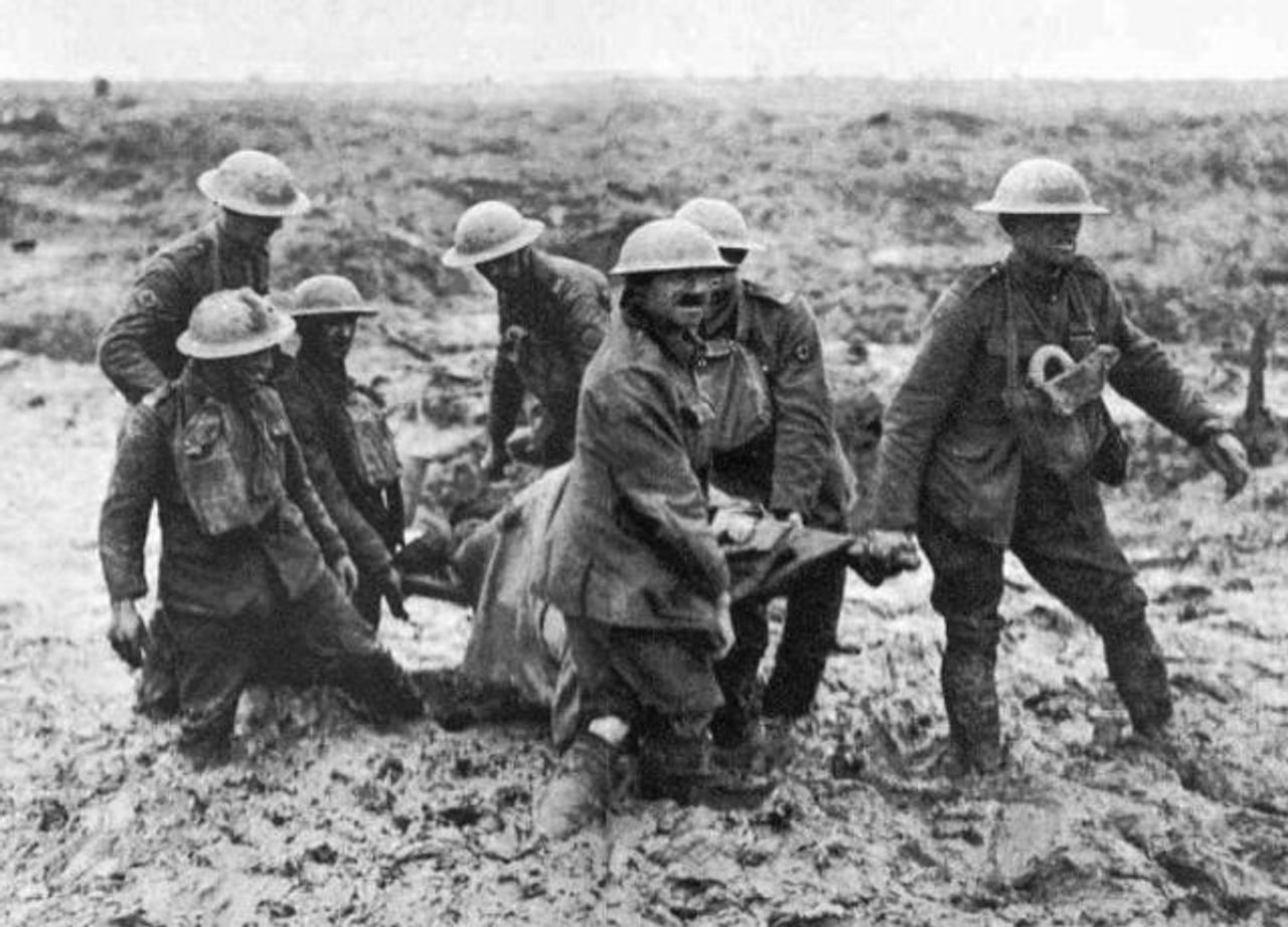 Australian stretcher bearers trapped in mud, Battle of Ypres, 1917. Photo courtesy Australian War Memorial