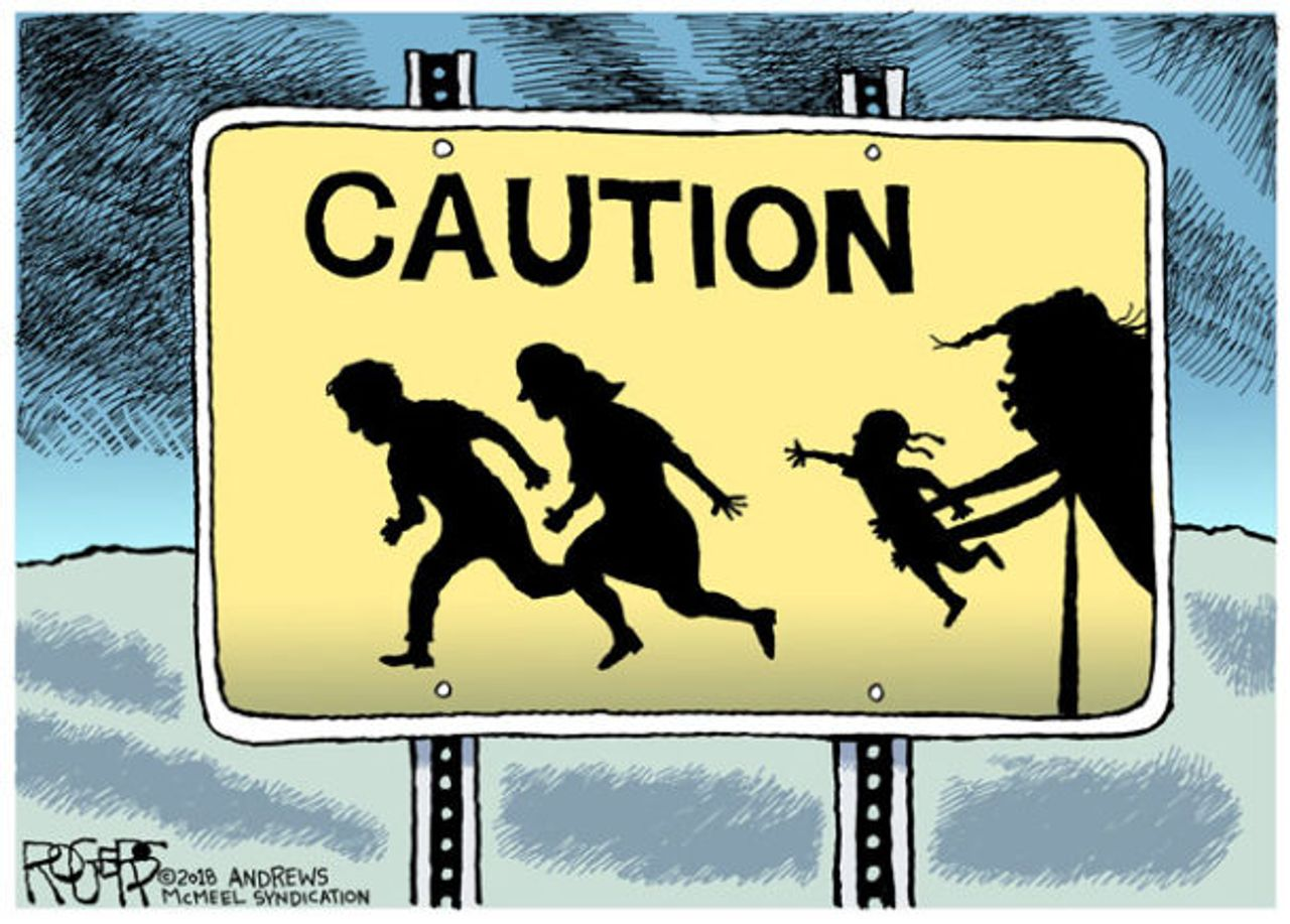 United States President Trump breaking up families, censored cartoon by Rob Rogers