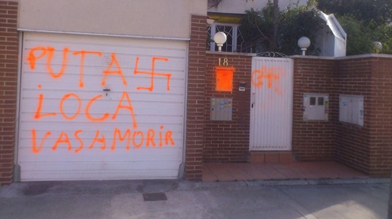 'Crazy whore you are going to die' and nazi swastika, graffiti on Franco dictatorship survivor Gema Carretero's house