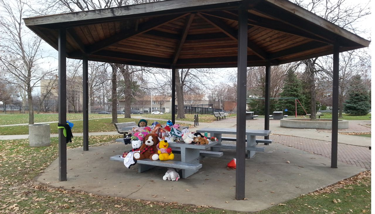 The spot where Tamir Rice was killed
