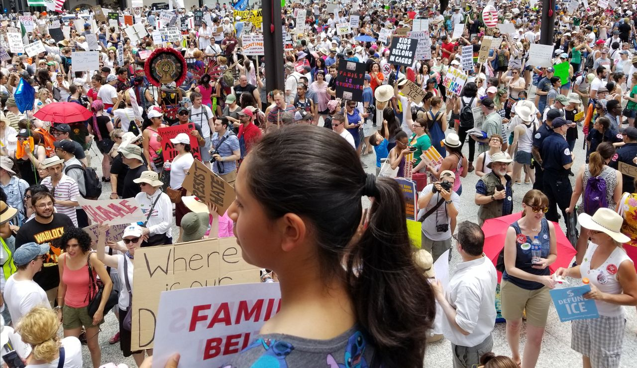 Pro-immigrant children demonstrators in Chicago, USA