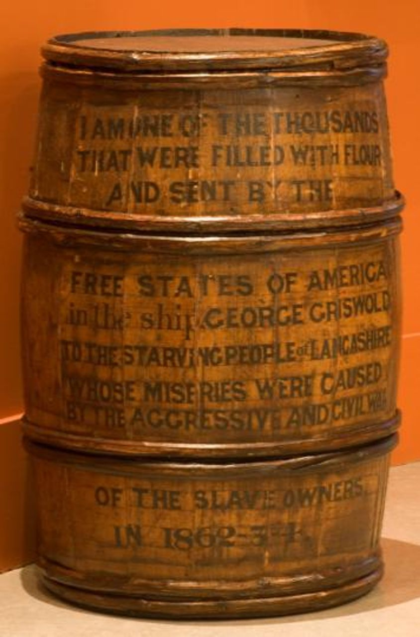 This flour barrel (now located at Rochdale Museum) was part of the relief sent from New York and Philadelphia