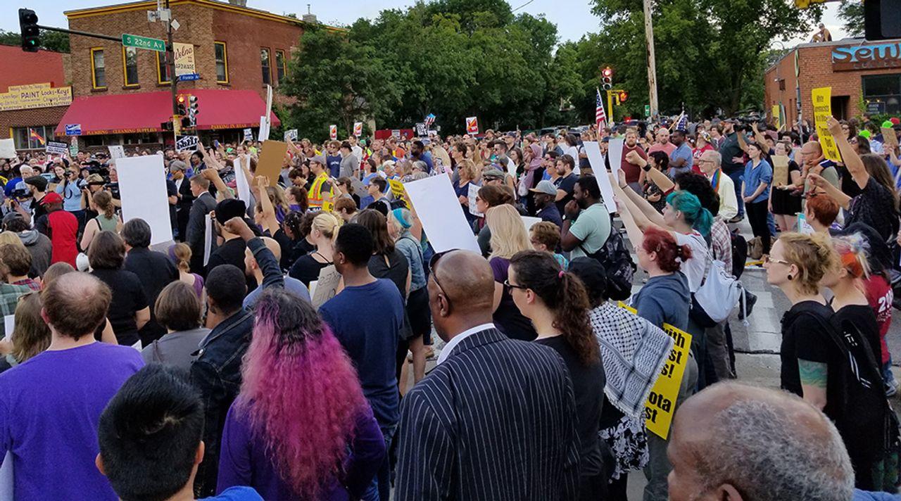 Anti-fascist protest in Minneapolis, USA