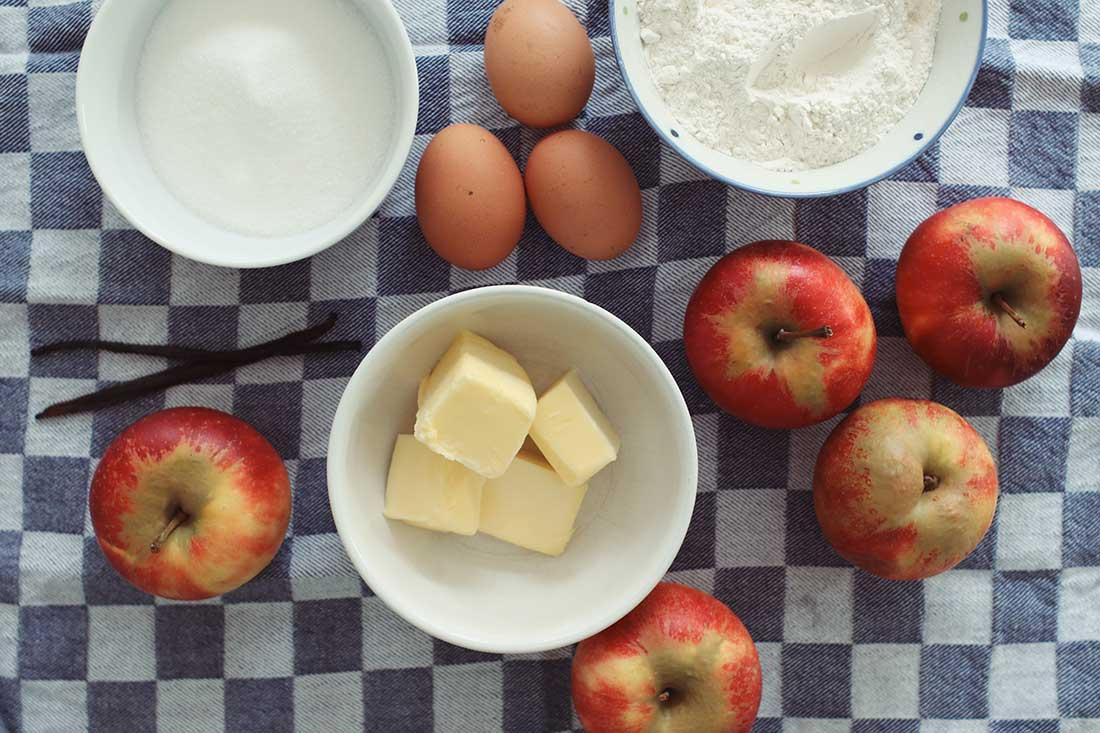 Zutaten für die Apfel-Tarte mit Quark-Guss