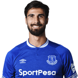 Picture of the 1.88 m (6 ft 2 in) tall Portugese centre midfielder of Everton