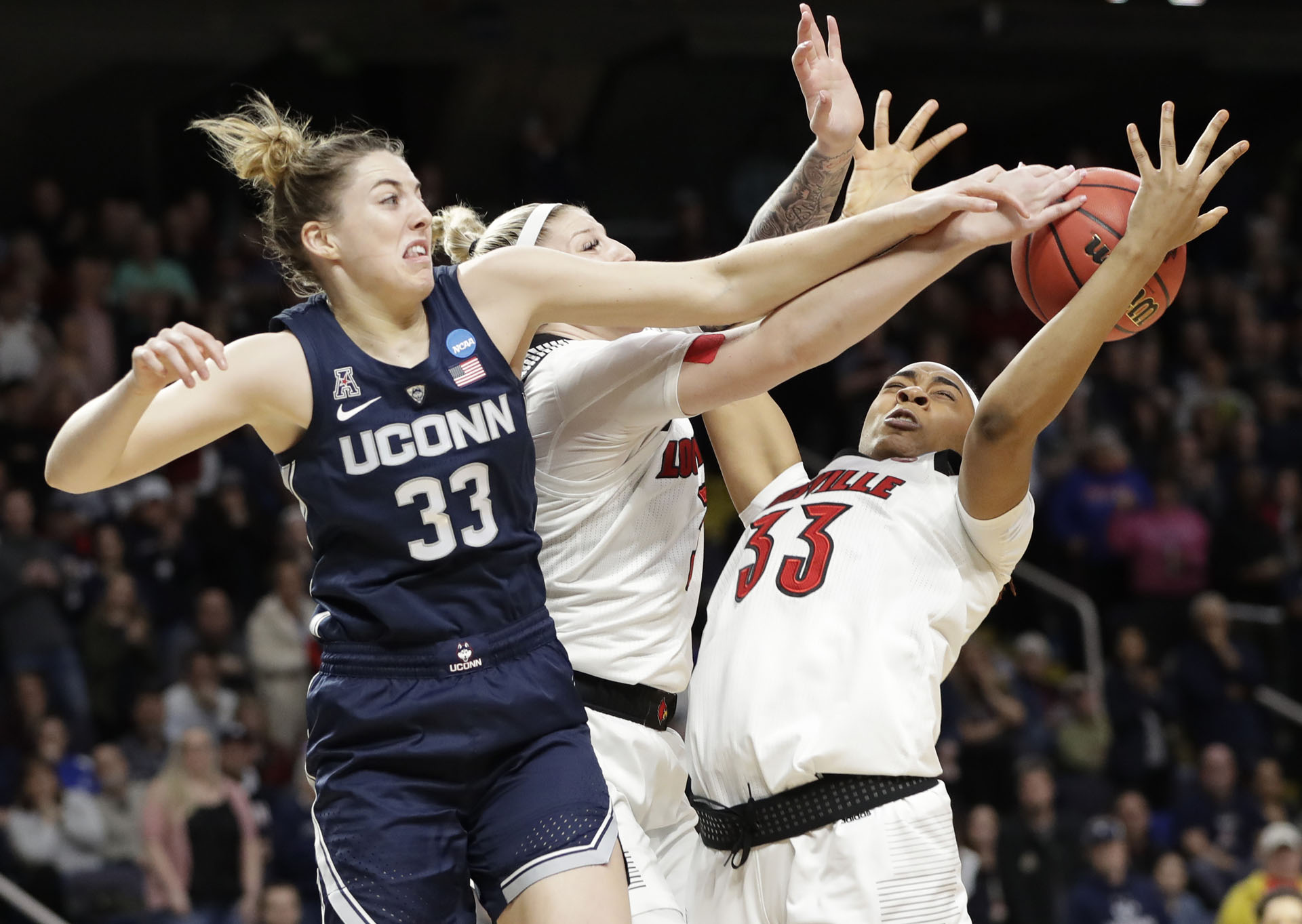 NCAA UConn Louisville Basketball Katie Lou Samuelson