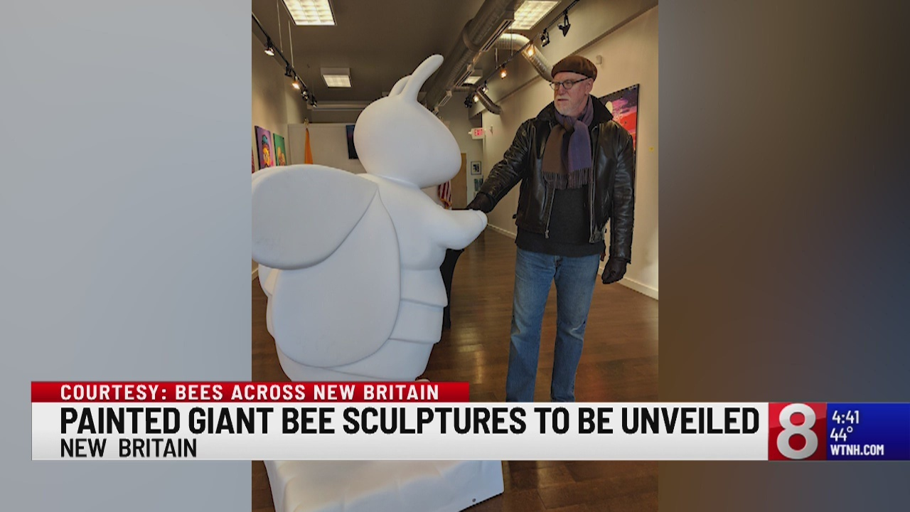 "Giant painted bee sculptures to ""beeee"" unveiled for the Bees Across New Britain art project"