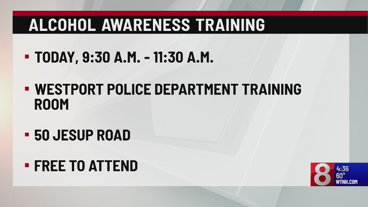 Westport PD to host alcohol awareness training session on Monday