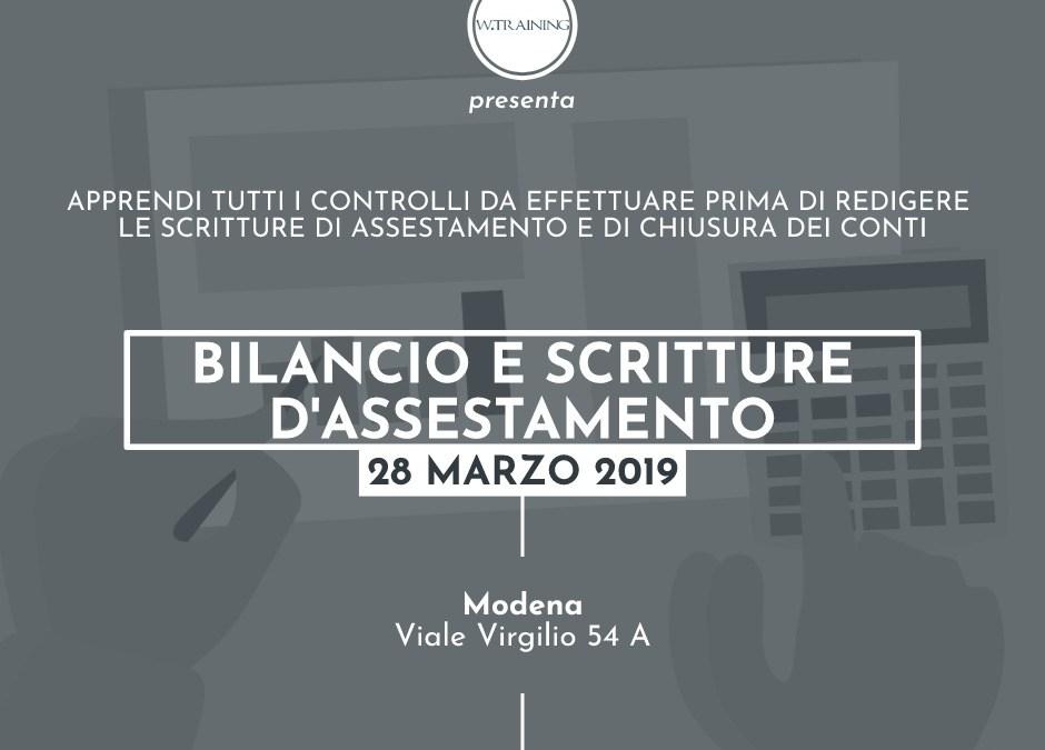Bilancio e scritture d'assestamento – 2019