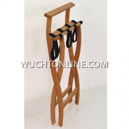 wucht hotel standard wooden mallet wall saver folding luggage rack walnut black straps 行李架